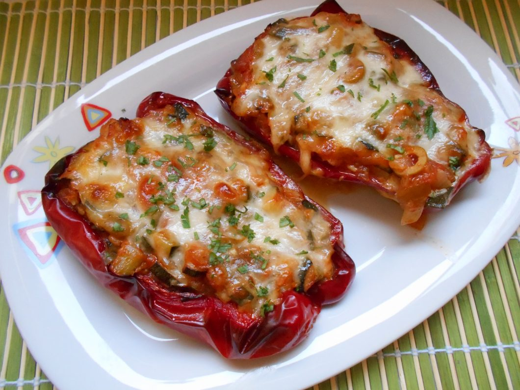 726 receta pimientos rellenos de calabac n y mozzarella for Cocina vegetariana facil y rapida